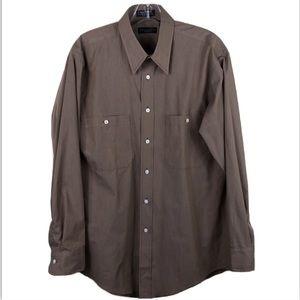 Christian Dior Tan Orange Check Shirt 15.5 32/33